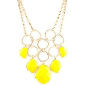 Yellow Linked Circle & Stones Earring Necklace,NWT